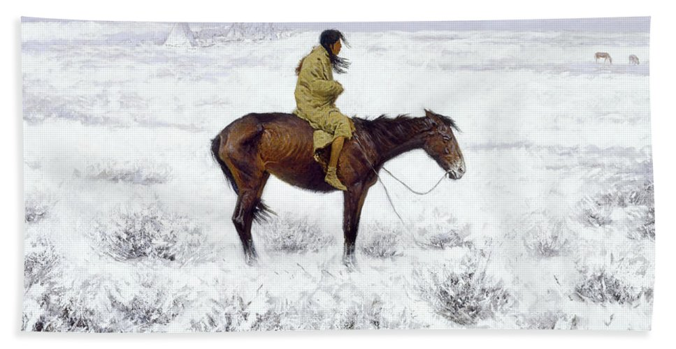 Native American Bath Sheet featuring the painting The Herd Boy by Frederic Sackrider Remington