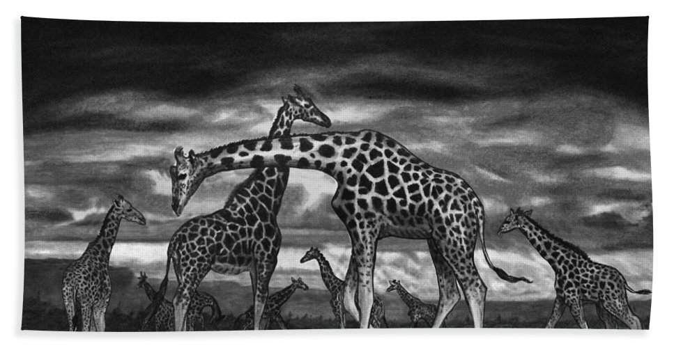 The Herd Bath Towel featuring the drawing The Herd by Peter Piatt