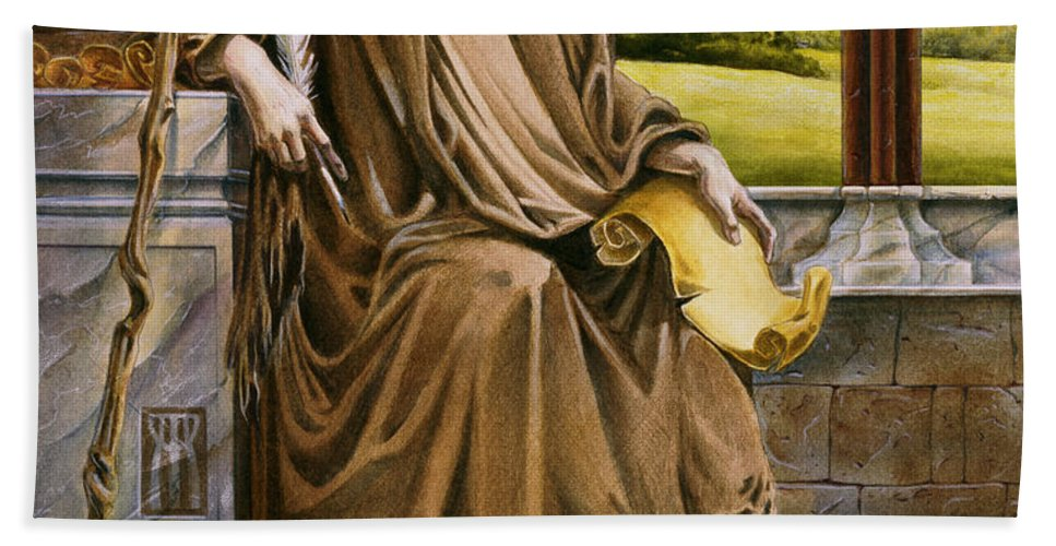 Wise Man Bath Towel featuring the painting The Hermit Nascien by Melissa A Benson