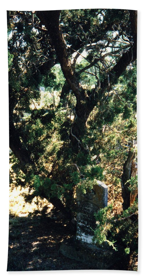 Hidden Grave Stone Mesquite Hand Towel featuring the photograph The Hidden Grave by Cindy New