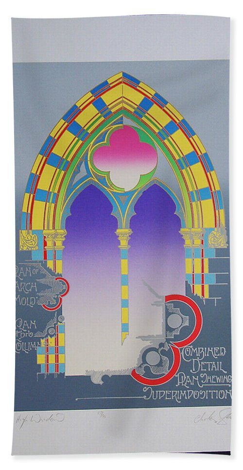Window Bath Sheet featuring the mixed media The High Window by Charles Stuart