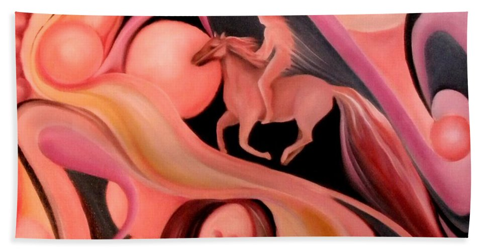 Horse On Surreal Highway Bath Sheet featuring the painting The Highway by Jordana Sands