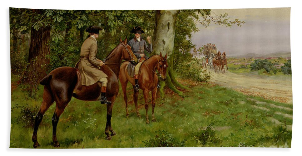 The Highwaymen (oil On Canvas) By George Derville Rowlandson (1861-1930) Bath Sheet featuring the painting The Highwaymen by George Derville Rowlandson