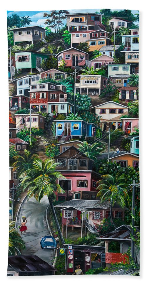 Landscape Painting Cityscape Painting Houses Painting Hill Painting Lavantille Port Of Spain Painting Trinidad And Tobago Painting Caribbean Painting Tropical Painting Caribbean Painting Original Painting Greeting Card Painting Bath Towel featuring the painting The Hill   Trinidad by Karin Dawn Kelshall- Best