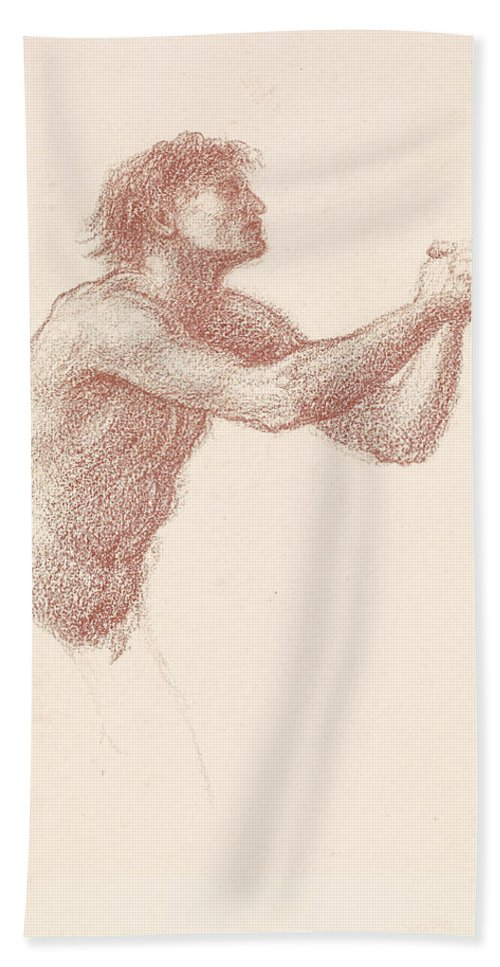 Burne-jones Hand Towel featuring the drawing The Hill Of Venus Male Nude by Edward Burne-Jones