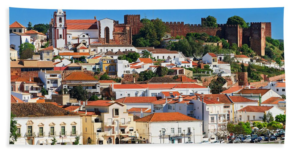 Silves Hand Towel featuring the photograph The Historic Town Of Silves In Portugal by Louise Heusinkveld