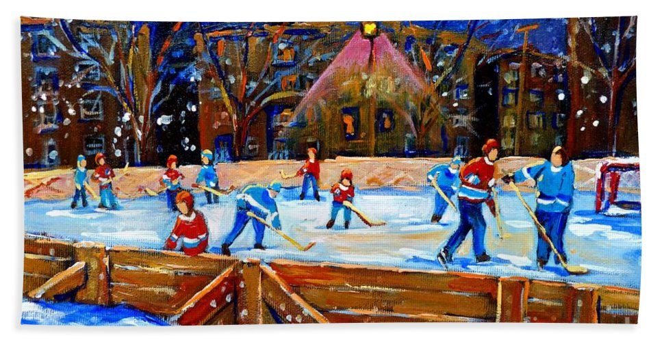 Snow Hand Towel featuring the painting The Hockey Rink by Carole Spandau