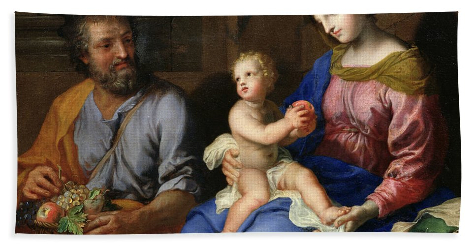 The Holy Family (oil On Canvas) By Jacques Stella (1596-1657) Hand Towel featuring the painting The Holy Family by Jacques Stella