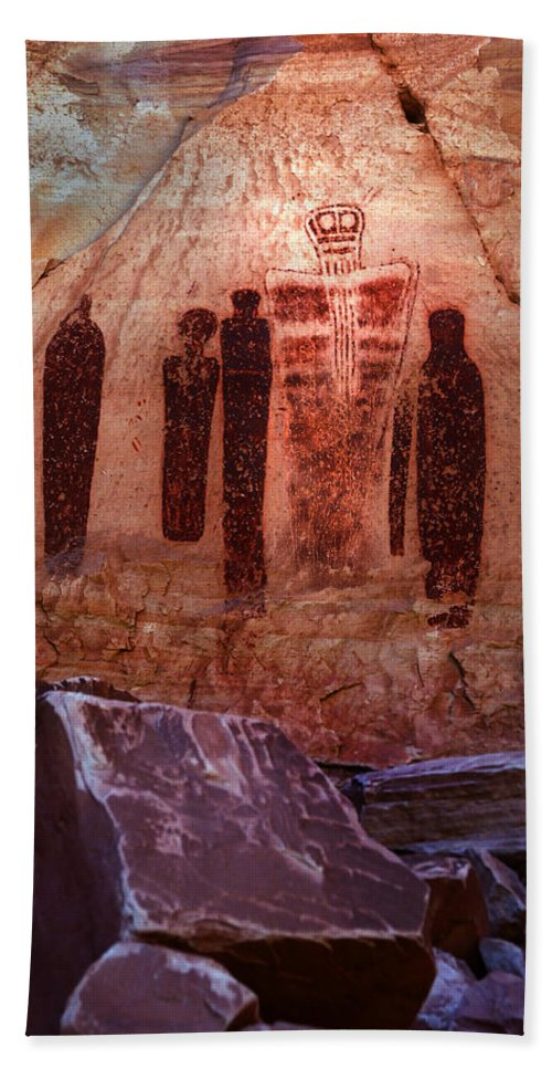 Explore Adventure Photography Photographer Photooftheday Picoftheday Wanderlust Explore Dirtroad America Americanwest Ancestral Ancient Art Cavepainting Rock Art Communication Concept Culture Etching Humanrepresentation Indian Inscription Language Mystery Nativeamerican North America Petroglyph Pictograph Prehistoric Rock Scenic Southwest Stone Symbol Time Unitedstates Utah Worldtravel Writing Fremont Coloradoriver Bath Sheet featuring the photograph The Holy Ghost With His Companions by Ron Brown Photography