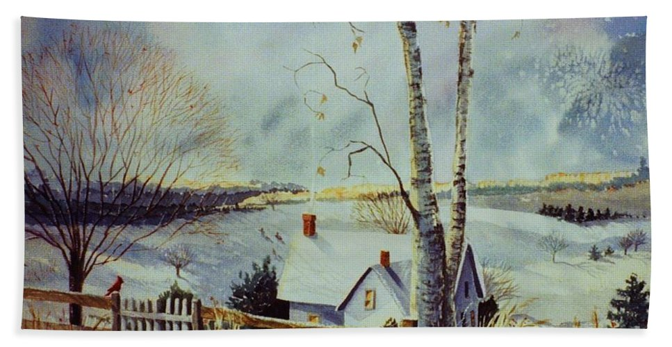 Winter Scene Bath Sheet featuring the painting The Homestead by Marilyn Smith