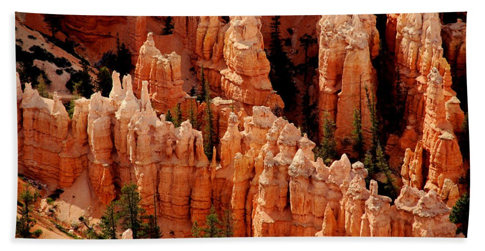 Landmark Bath Sheet featuring the photograph The Hoodoos In Bryce Canyon by Susanne Van Hulst