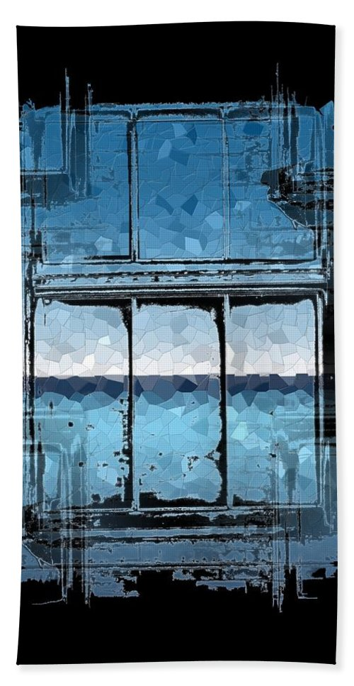Abstract Hand Towel featuring the digital art The Horizon Beyond by Tim Allen