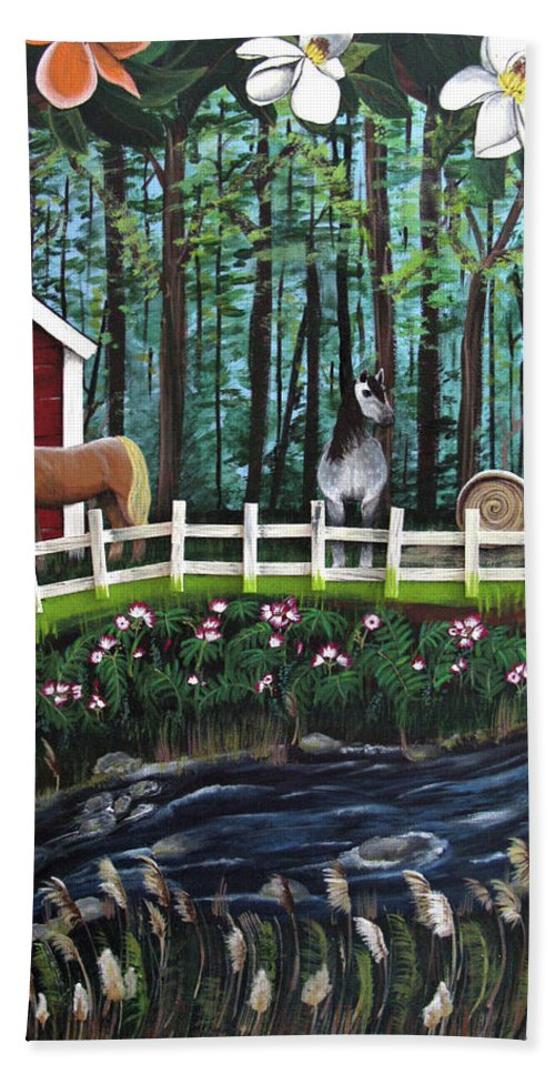 Magnolia Hand Towel featuring the painting The Horse Farm by Ruth Fabiano