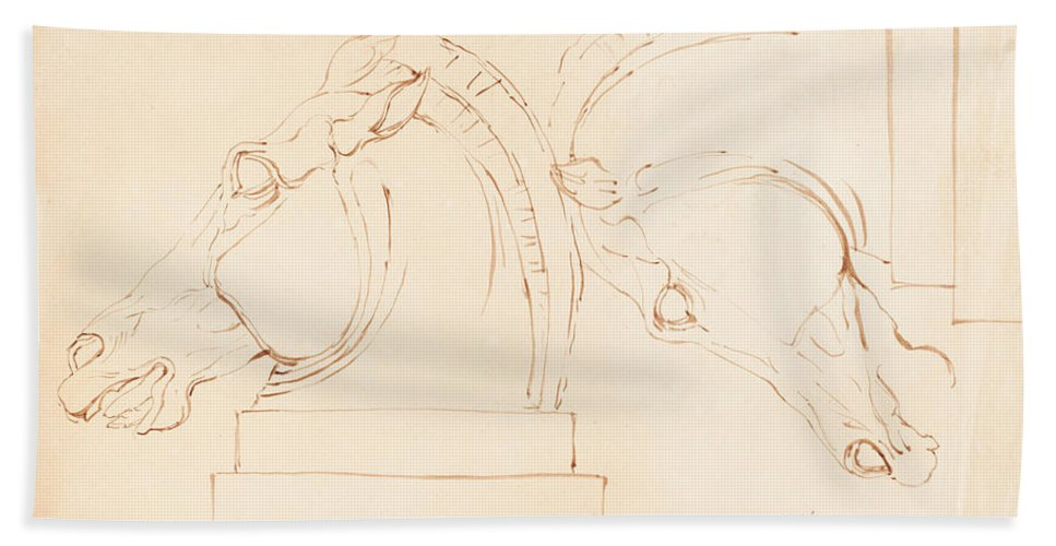 Hand Towel featuring the drawing The Horse Of Selene From The Elgin Marbles [recto] by William Etty