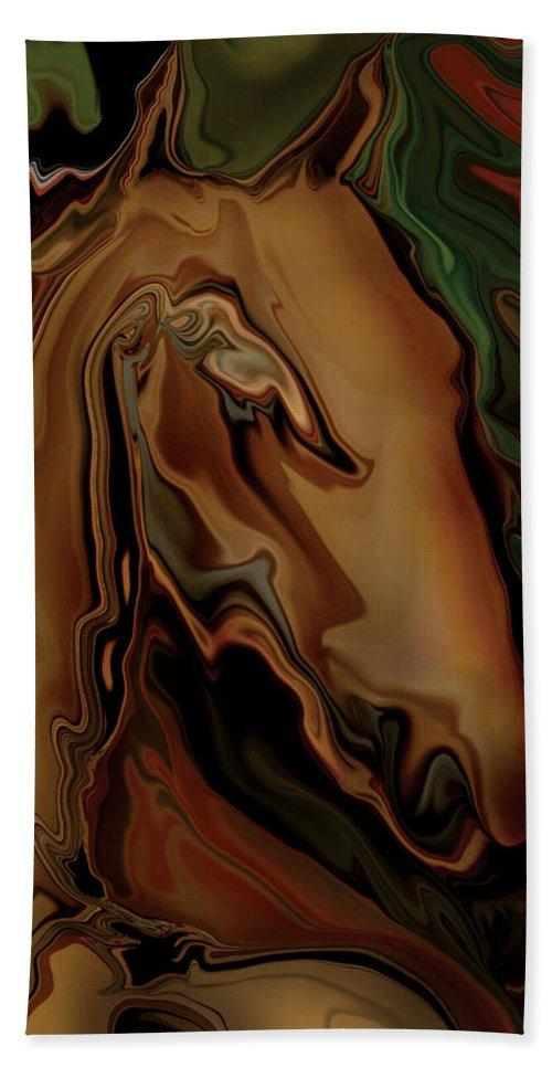 Animal Bath Towel featuring the digital art The Horse by Rabi Khan