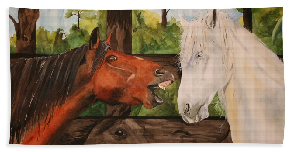 Horse Hand Towel featuring the painting The Horse Whisperers by Jean Blackmer