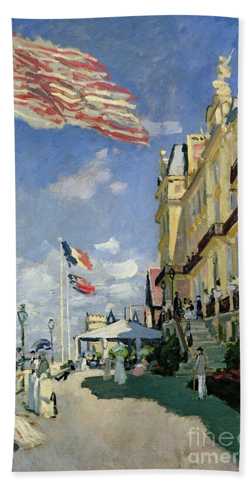 Monet Hand Towel featuring the painting The Hotel Des Roches Noires At Trouville by Claude Monet