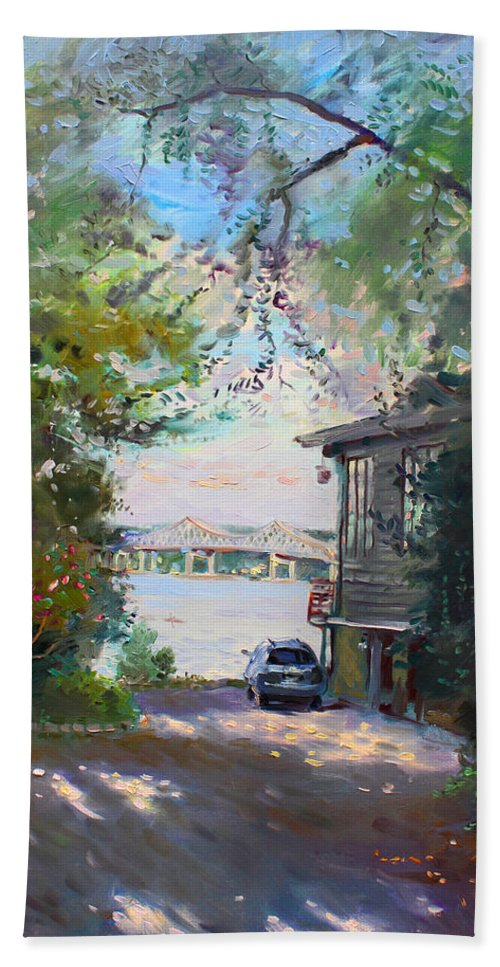 Hudson River Bath Sheet featuring the painting The House By The River by Ylli Haruni