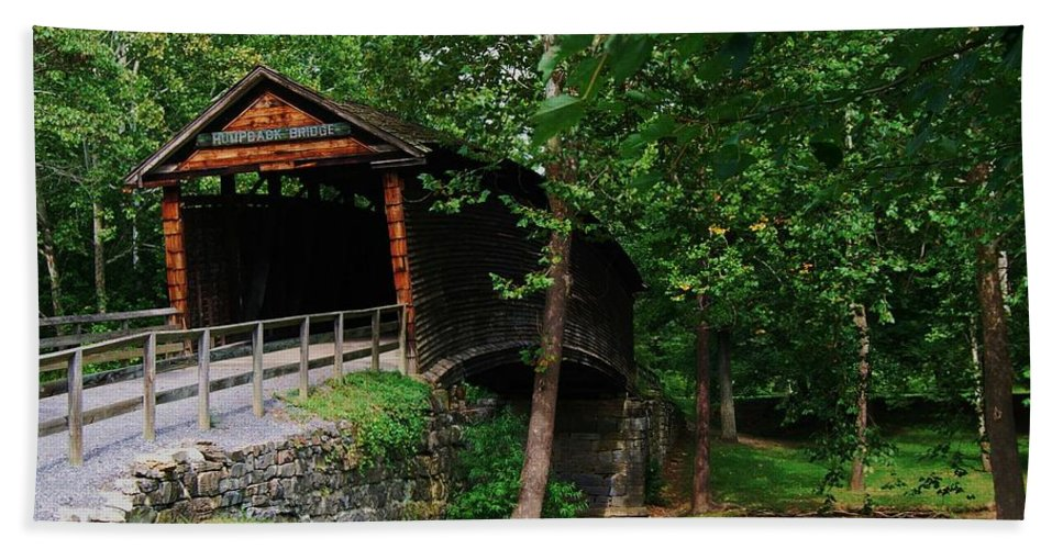 Covered Bridge Hand Towel featuring the photograph The Humpback Bridge by Eric Liller