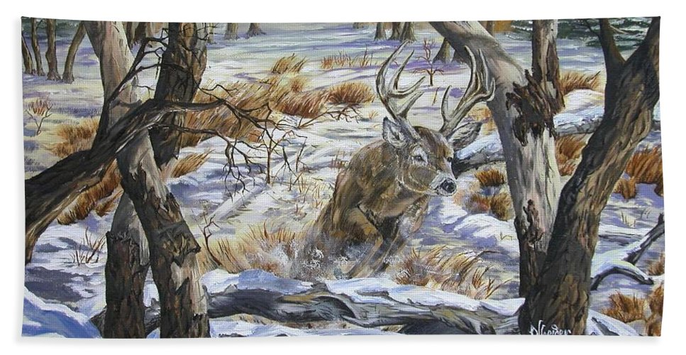 Hunting Hand Towel featuring the painting The Hunted by Jim Olheiser