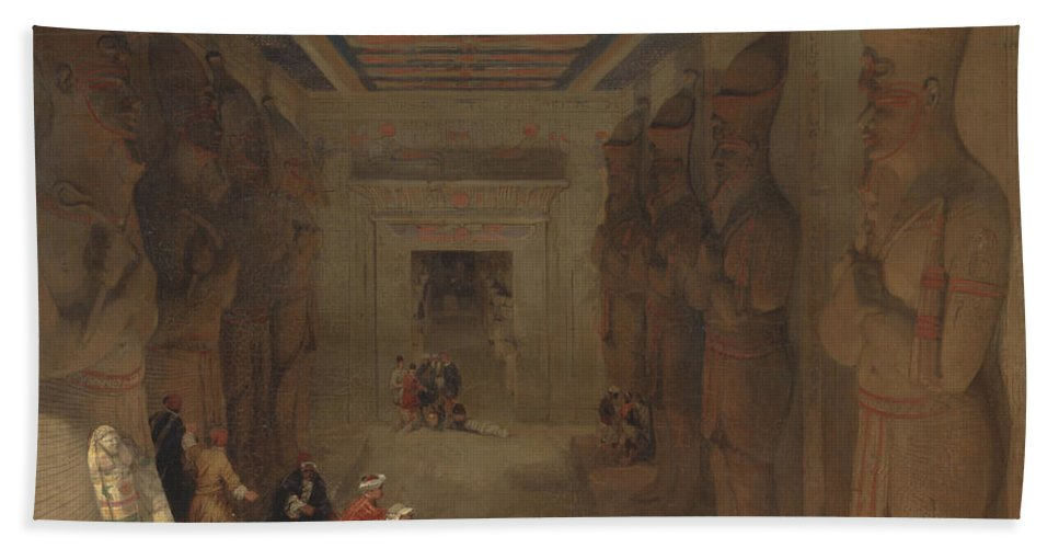 David Roberts Bath Sheet featuring the painting The Hypostyle Hall Of The Great Temple At Abu Simbel Egypt by David Roberts