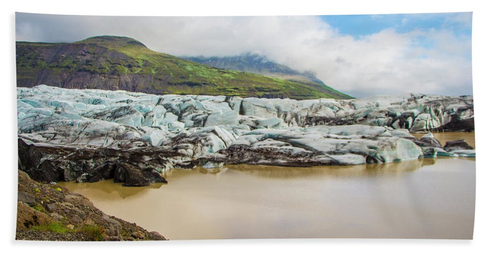 Iceland Hand Towel featuring the photograph The Ice Wall Iceland by Venetia Featherstone-Witty