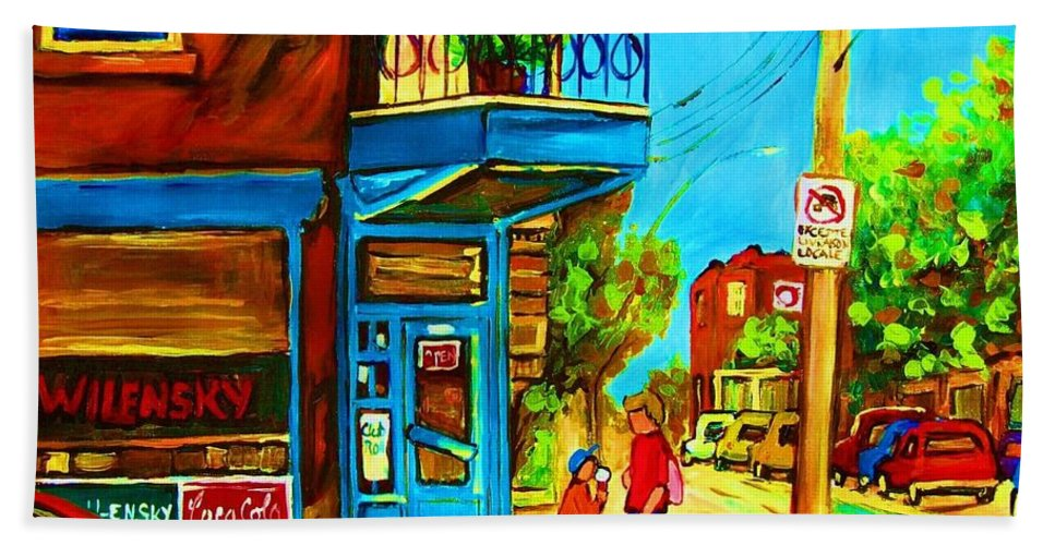 Wilenskys Deli Hand Towel featuring the painting The Icecream Cone by Carole Spandau