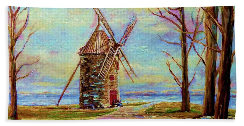 Ile Perrot Windmill Bath Towel featuring the painting The Ile Perrot Windmill Moulin Ile Perrot Quebec by Carole Spandau
