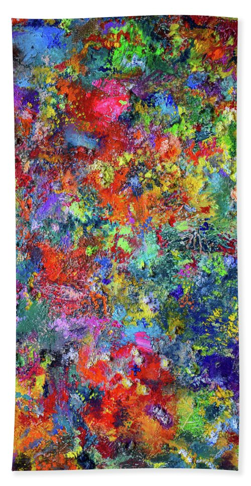 Abstract Art Bath Sheet featuring the painting The Immortal_by Aatmica by Aatmica Ojha