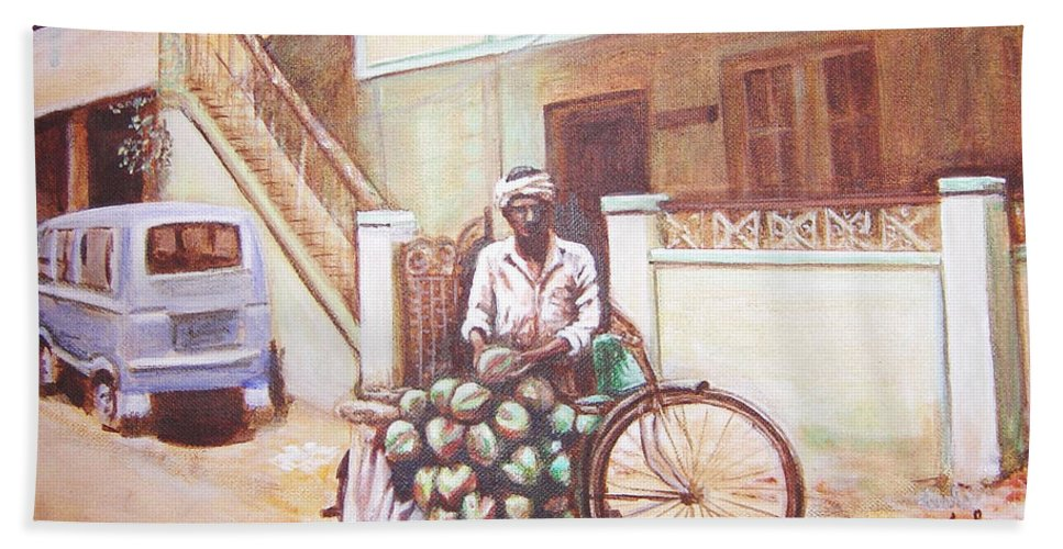 Usha Bath Towel featuring the painting The Indian Tendor-coconut Vendor by Usha Shantharam