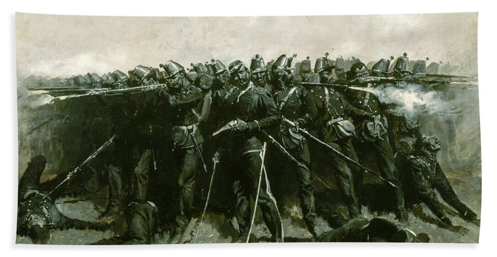 Infantry Bath Sheet featuring the painting The Infantry Square by Frederic Sackrider Remington