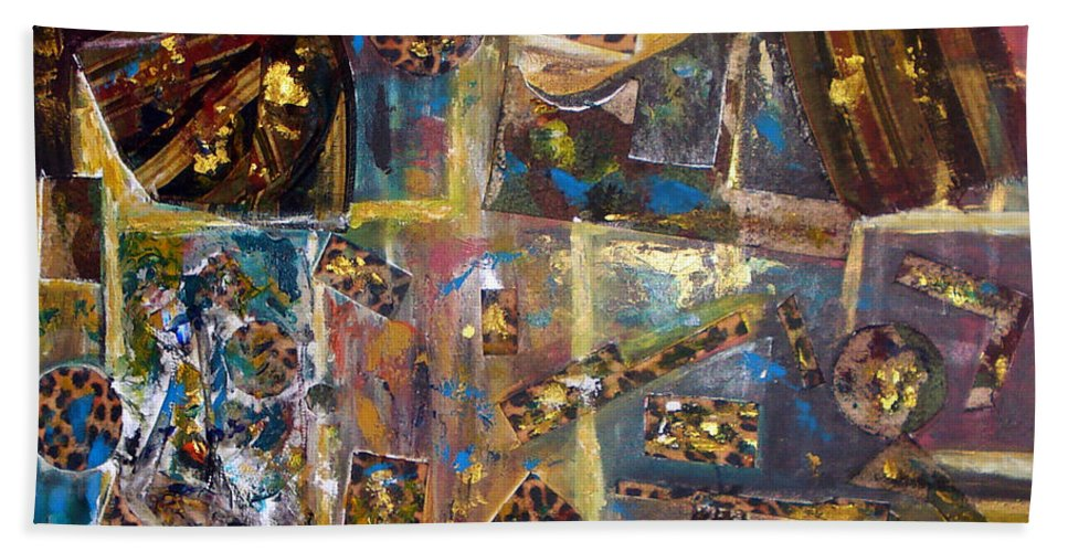 Collage Painting Bath Sheet featuring the painting The Infinite Passion Of Life by Yael VanGruber