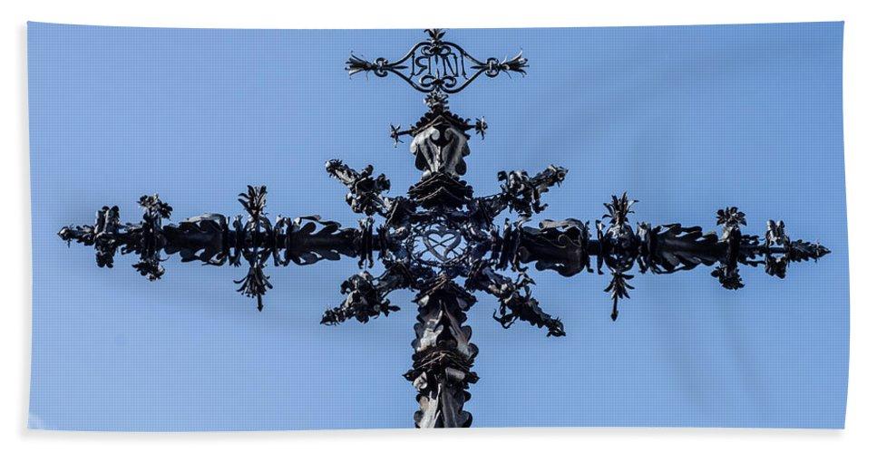 Seville Bath Sheet featuring the photograph The Iron Cross Of Santa Cruz by Andrea Mazzocchetti