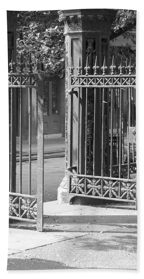 French Quarter Hand Towel featuring the photograph The Iron Gates by Michelle Powell