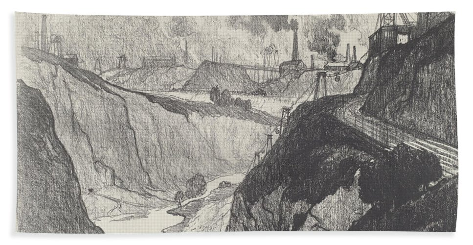 Hand Towel featuring the drawing The Iron Mine by Joseph Pennell