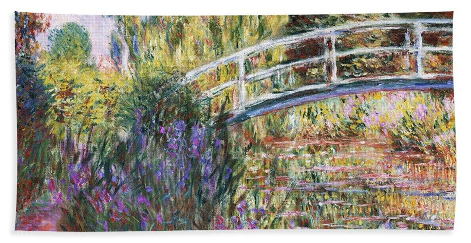 Monet Bath Towel featuring the painting The Japanese Bridge by Claude Monet