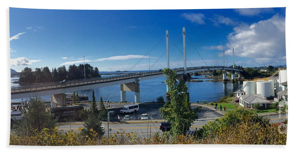 John O'connell Bridge Hand Towel featuring the photograph The John O'connell Bridge Is A Cable-stayed Bridge Over The Sitk by California Views Archives Mr Pat Hathaway Archives