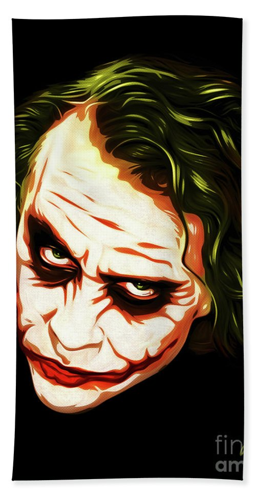Art Hand Towel featuring the digital art The Joker - Pop Art by William Cuccio aka WCSmack