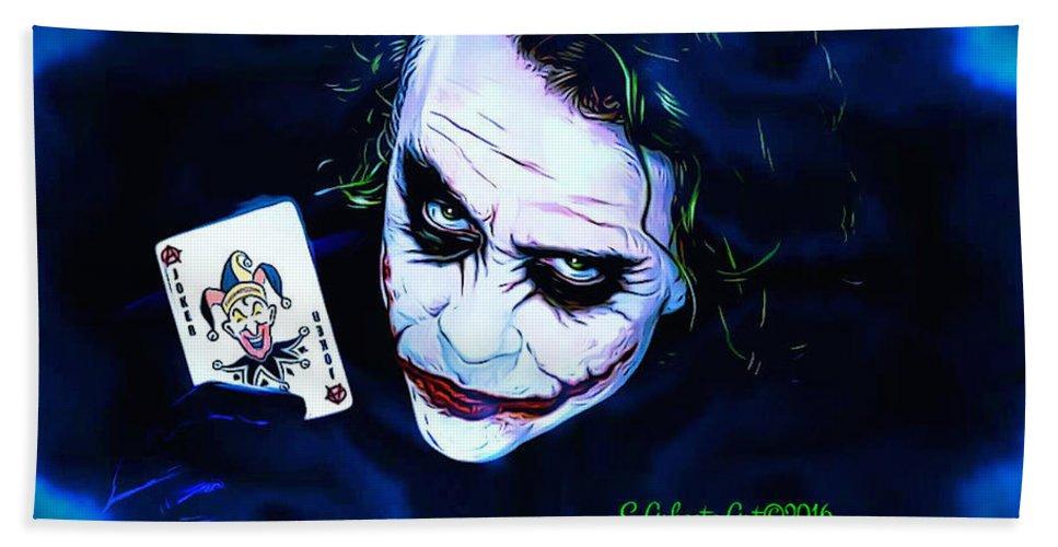 The Joker Hand Towel featuring the digital art The Joker by Scott Ashgate
