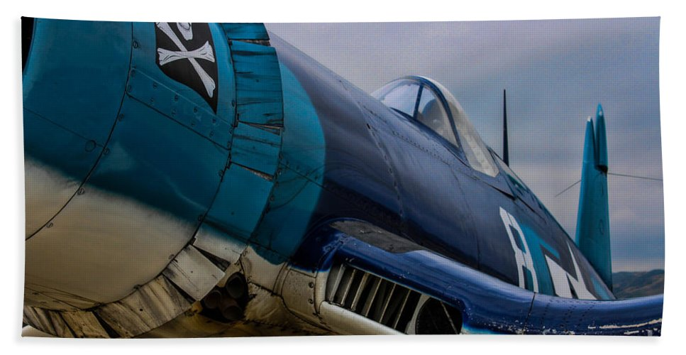 Vought F4u-1 Corsair Bath Sheet featuring the photograph The Jolly Roger by Tommy Anderson