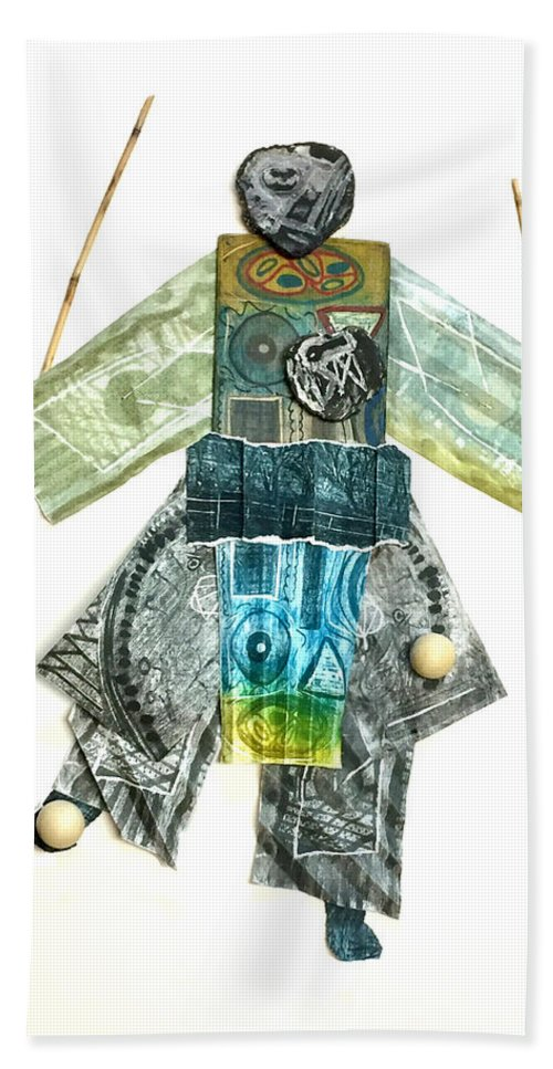 Bath Sheet featuring the mixed media The Juggler by Iris Posner