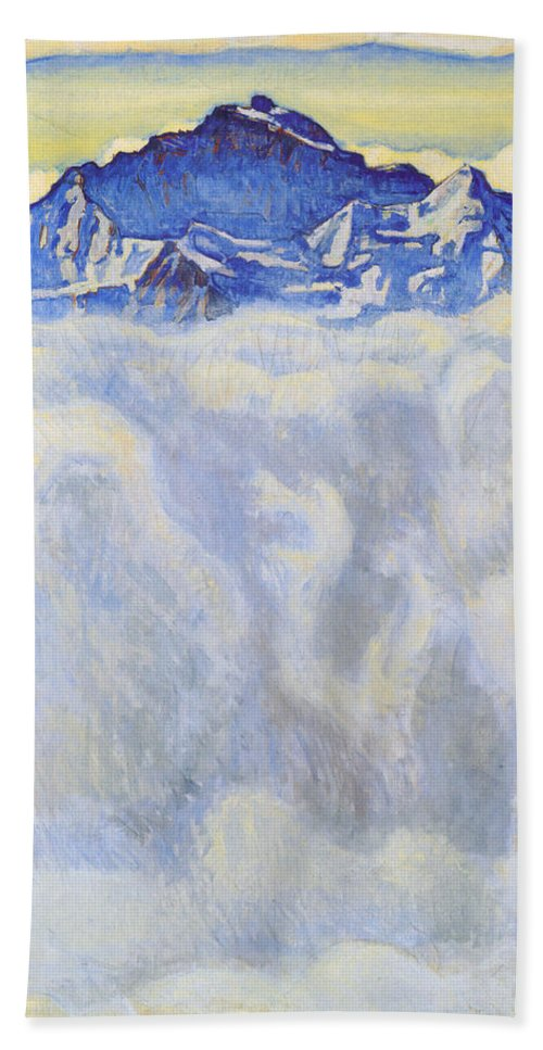 Ferdinand Hodler Hand Towel featuring the painting The Jung Frau Above A Sea Of Mist by Ferdinand Hodler