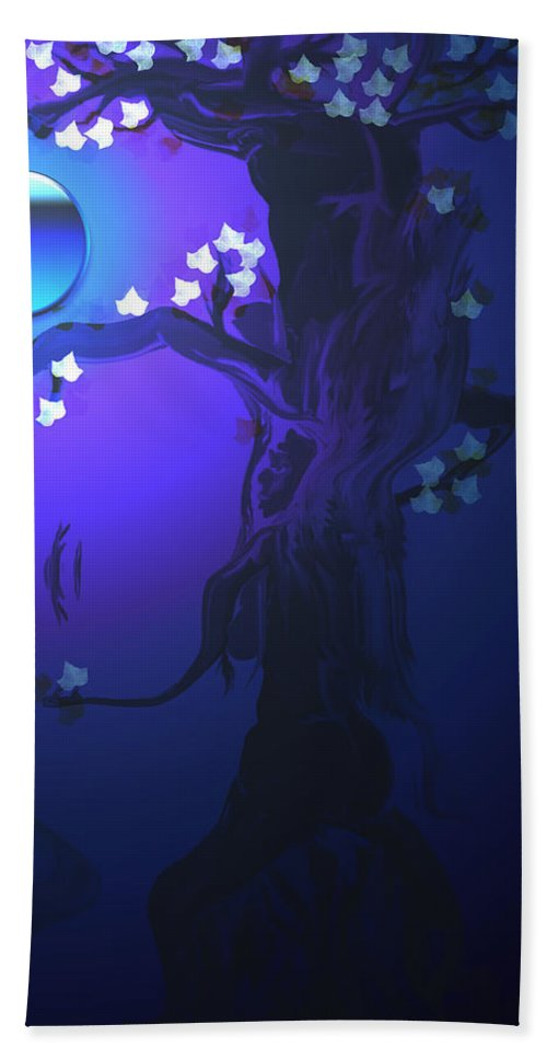 Tree Moon Spider Leaves Blue Feelings Lonely Drawing Dark Bath Sheet featuring the digital art The Keeper by Andrea Lawrence