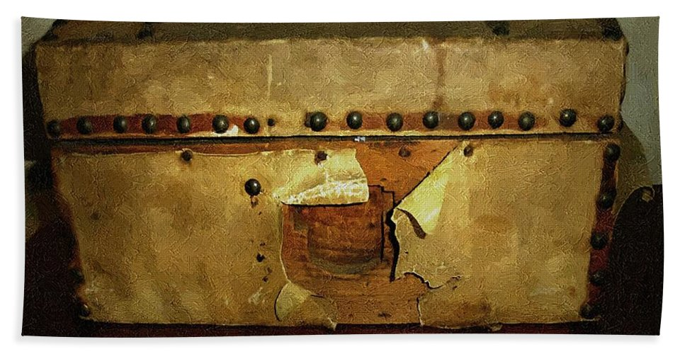 Americana Bath Sheet featuring the painting The Keepsake Chest by RC DeWinter