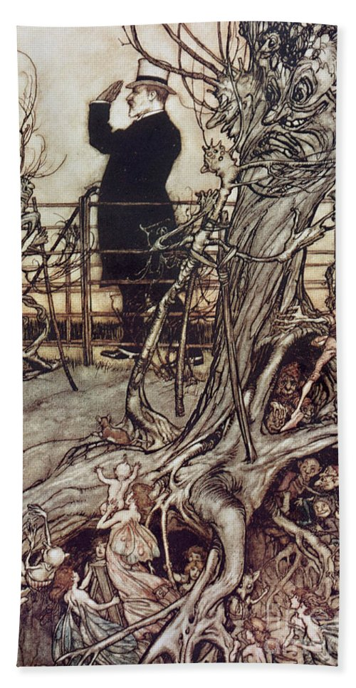 Arthur Rackham Hand Towel featuring the drawing The Kensington Gardens Are In London Where The King Lives by Arthur Rackham