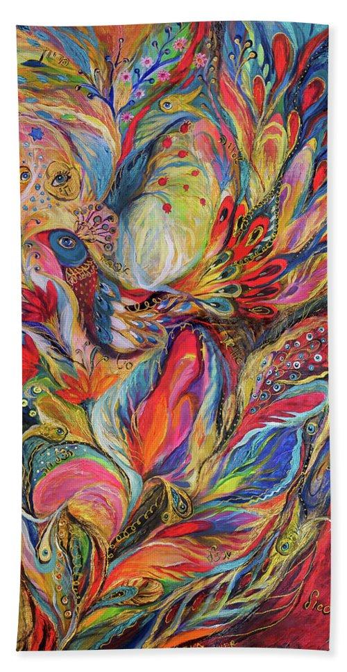Original Bath Towel featuring the painting The King Bird by Elena Kotliarker