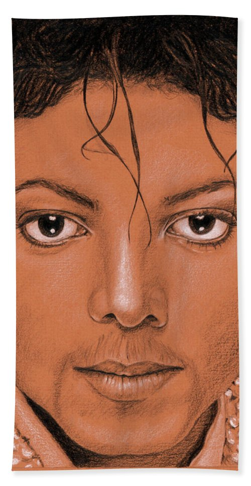 Michael Hand Towel featuring the painting The King of Pop by Rob De Vries