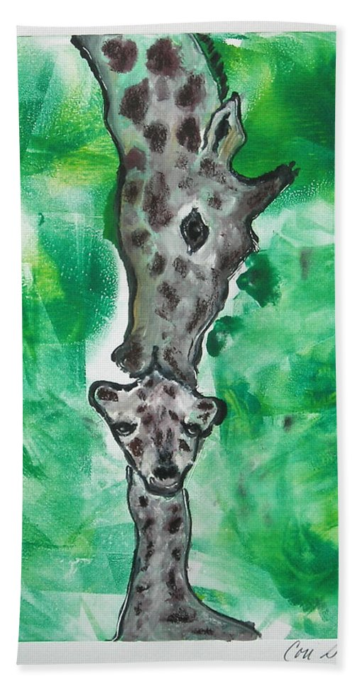 Hand Pulled Print Hand Towel featuring the mixed media The Kiss by Cori Solomon