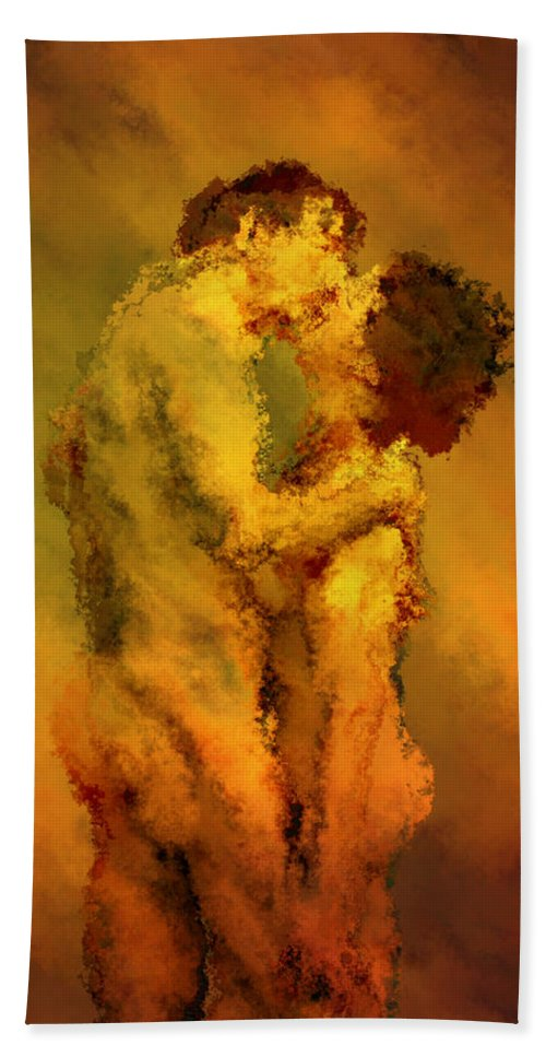 Nudes Bath Towel featuring the photograph The Kiss by Kurt Van Wagner