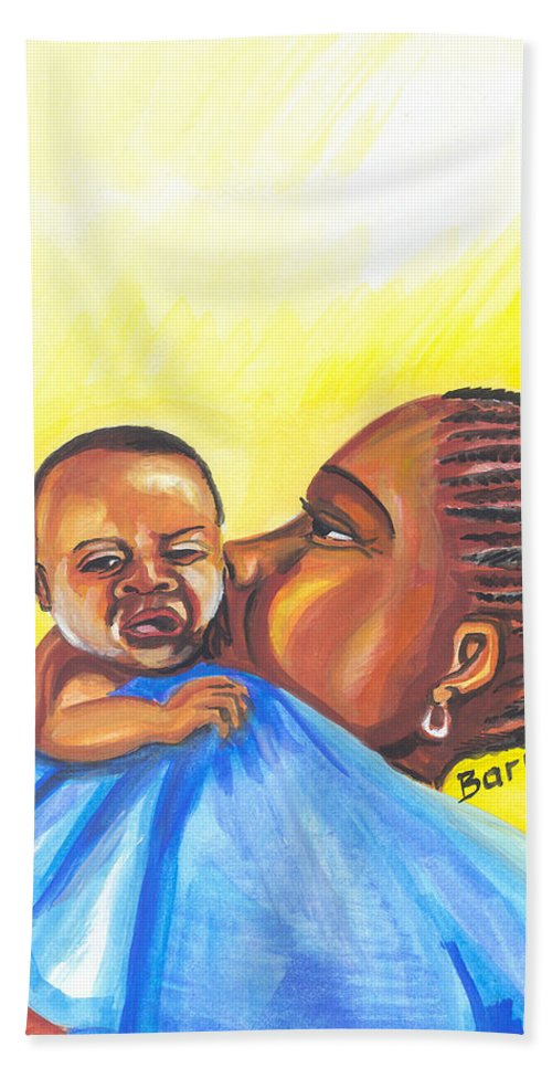 Portraits Hand Towel featuring the painting The Kiss Of A Mother In Senegal by Emmanuel Baliyanga